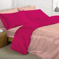 Reversible Light Pink and Cerise King Bed Size Satin Complete Duvet Cover Bed Set