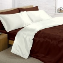 Reversible Chocolate Brown and Cream King Bed Size Satin Complete Duvet Cover Bed Set