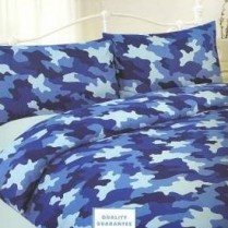 Children's Camouflage Army Duvet Cover Set Blue
