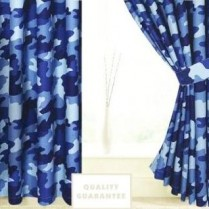 Blue Camouflage Army Curtains