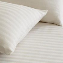 300 Thread Count Striped Egyptian Cotton Duvet Cover and Pillowcases Set Cream