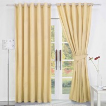 Pair of Cream Faux Silk Eyelet Curtains