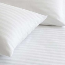 220 Thread Count Striped Fitted Sheets in WHITE