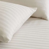 220 Thread Count Striped Fitted Sheets in CREAM