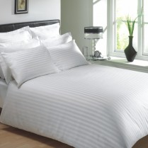 400 Thread Count White Classic Stripe Flat Sheets
