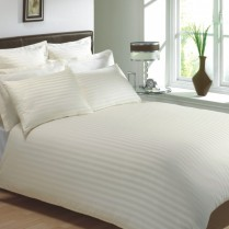 400 Thread Count Cream Classic Stripe Flat Sheets
