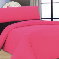 Reversible Fuchsia Pink/ Black Duvet Cover Set