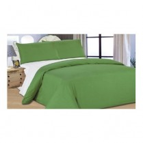 Reversible Summer Green/ White Duvet Cover Set