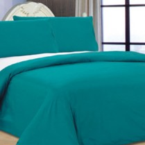 Reversible Teal/ White Duvet Cover Set