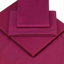 Percale Box Pleated Base Platform Valance Sheets in AUBERGINE