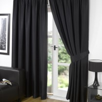 Pair of Black Supersoft Blackout Thermal Curtains Pencil Pleat *inc Tiebacks
