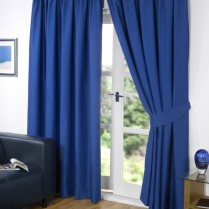 Pair of Blue Supersoft Blackout Thermal Curtains Pencil Pleat *inc Tiebacks