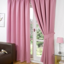 Pair of Pink Supersoft Blackout Thermal Curtains Pencil Pleat *inc Tiebacks
