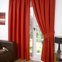 Pair of Red Supersoft Blackout Thermal Curtains Pencil Pleat *inc Tiebacks