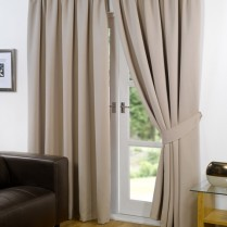 Pair of Beige Supersoft Blackout Thermal Curtains Pencil Pleat *inc Tiebacks