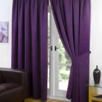 Pair of Purple / Plum Supersoft Blackout Thermal Curtains Pencil Pleat *inc Tiebacks