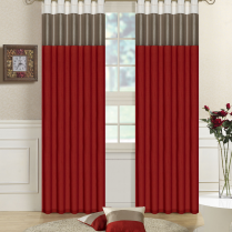 Pair of Fully Lined Red, Taupe, Cream Faux Silk THREE TONE Eyelet / Ring Top Curtains with Matching Tiebacks