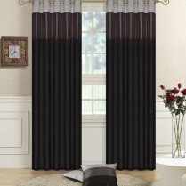 Pair of Fully Lined  Black, Grey,Silver Faux Silk THREE TONE Eyelet / Ring Top Curtains with Matching Tiebacks
