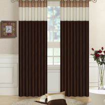 Pair of Fully Lined Chocolate Brown, Cream, Gold Faux Silk THREE TONE Eyelet / Ring Top Curtains with Matching Tiebacks