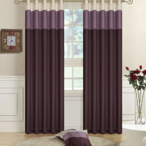 Pair of Fully Lined Purple, Lilac, Cream Faux Silk THREE TONE Eyelet / Ring Top Curtains with Matching Tiebacks