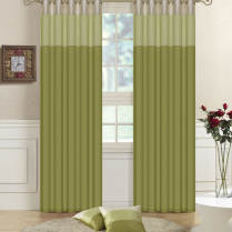 Pair of Fully Lined Sage Green, Moss Green, Cream Faux Silk THREE TONE Eyelet / Ring Top Curtains with Matching Tiebacks