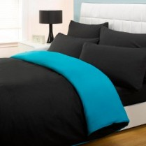 6pc Reversible Complete Black / Teal Duvet Cover and Fitted Sheet Bed Set