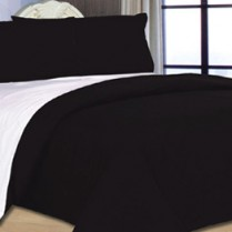 6pc Reversible Complete Black / White Duvet Cover and Fitted Sheet Bed Set