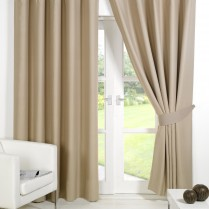 Pair of Beige Supersoft Blackout Thermal Curtains Ring Top / Eyelet *inc Tiebacks