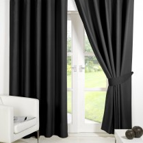 Pair of Black Supersoft Blackout Thermal Curtains Ring Top / Eyelet *inc Tiebacks