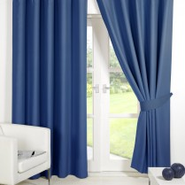 Pair of Blue Supersoft Blackout Thermal Curtains Ring Top / Eyelet *inc Tiebacks