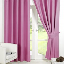 Pair of Pink  Supersoft Blackout Thermal Curtains Ring Top / Eyelet *inc Tiebacks