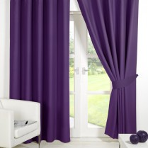 Pair of Purple / Plum Supersoft Blackout Thermal Curtains Ring Top / Eyelet *inc Tiebacks