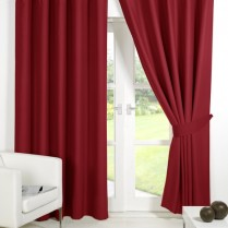Pair of Red Supersoft Blackout Thermal Curtains Ring Top / Eyelet *inc Tiebacks
