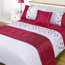 5pc Domino Red Design Bed in a Bag Bedding DUVET QUILT COVER SET + CUSHION COVER + BED RUNNER