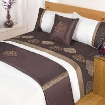 5pc Jasmine Chocolate Design Bed in a Bag Bedding DUVET QUILT COVER SET + CUSHION COVER + BED RUNNER