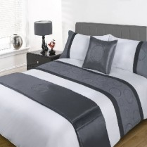 5pc Austin Silver Design Bed in a Bag Bedding DUVET QUILT COVER SET + CUSHION COVER + BED RUNNER