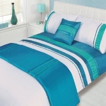 5pc Atlanta Blue Design Bed in a Bag Bedding DUVET QUILT COVER SET + CUSHION COVER + BED RUNNER