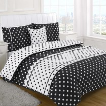 5pc Polka Dot Black Design Bed in a Bag Bedding DUVET QUILT COVER SET + CUSHION COVER + BED RUNNER