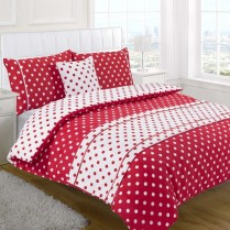5pc Polka Dot Red Design Bed in a Bag Bedding DUVET QUILT COVER SET + CUSHION COVER + BED RUNNER