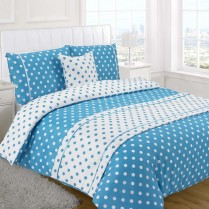 5pc Polka Dot Teal Design Bed in a Bag Bedding DUVET QUILT COVER SET + CUSHION COVER + BED RUNNER
