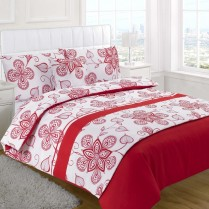 5pc Sedona Red Design Bed in a Bag Bedding DUVET QUILT COVER SET + CUSHION COVER + BED RUNNER