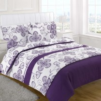 5pc Sedona Aubergine / Purple Design Bed in a Bag Bedding DUVET QUILT COVER SET + CUSHION COVER + BED RUNNER