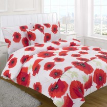 5pc Poppy Red Design Bed in a Bag Bedding DUVET QUILT COVER SET + CUSHION COVER + BED RUNNER