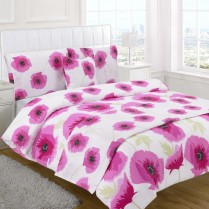 5pc Poppy Fuchsia Pink Design Bed in a Bag Bedding DUVET QUILT COVER SET + CUSHION COVER + BED RUNNER