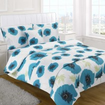 5pc Poppy Teal Design Bed in a Bag Bedding DUVET QUILT COVER SET + CUSHION COVER + BED RUNNER
