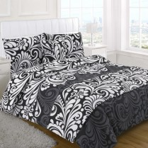 5pc Damask Black Design Bed in a Bag Bedding DUVET QUILT COVER SET + CUSHION COVER + BED RUNNER