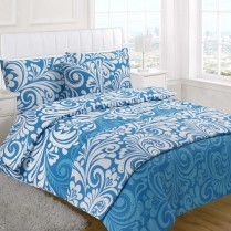 5pc Damask Teal Design Bed in a Bag Bedding DUVET QUILT COVER SET + CUSHION COVER + BED RUNNER