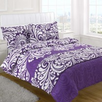 5pc Damask Aubergine / Purple Design Bed in a Bag Bedding DUVET QUILT COVER SET + CUSHION COVER + BED RUNNER