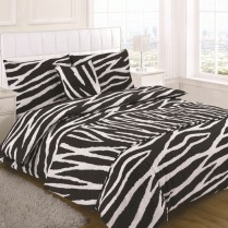 5pc Zebra Animal Print Design Bed in a Bag Bedding DUVET QUILT COVER SET + CUSHION COVER + BED RUNNER