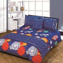 5pc Rocket Kids Design Bed in a Bag Bedding DUVET QUILT COVER SET + CUSHION COVER + BED RUNNER